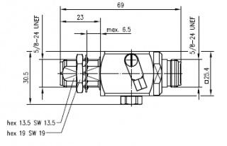 Грозоразрядное устройство с газовой капсулой, с креплением на панель, гнездо-гнездо, N, 50 Ом, IP67, 230 Вольт, 2.5 ГГц, вес 171 г.