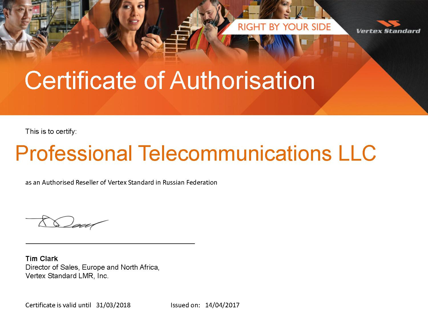 Professional Telecommunications LLC2017 EN VS EA Reseller Authorised